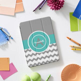 灰色のティール(緑がかった色)シェブロン iPad PROカバー