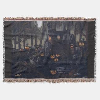 灰色のハロウィン夜毛布 スローブランケット