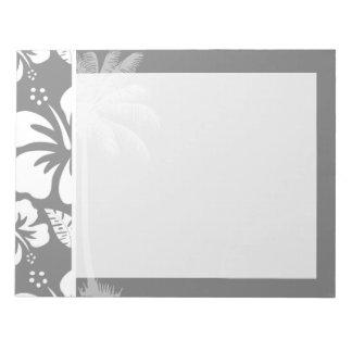 灰色のハワイの熱帯ハイビスカス; 夏のやし ノートパッド