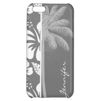 灰色のハワイの熱帯ハイビスカス; 夏のやし iPhone5Cケース