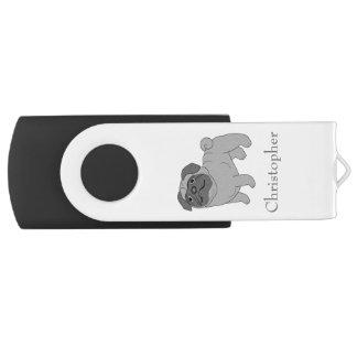 灰色のパグ犬はちょうど名前を加えます USBフラッシュドライブ