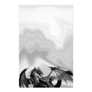 灰色のファンタジーの文房具のドラゴン 便箋