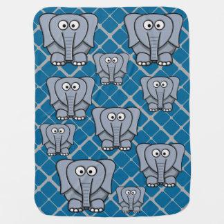 灰色のベビーブランケットのかわいい象 ベビー ブランケット