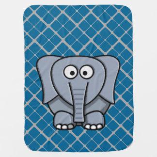 灰色のベビーブランケット2のかわいい象 ベビー ブランケット