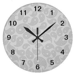灰色のペーズリー ラージ壁時計