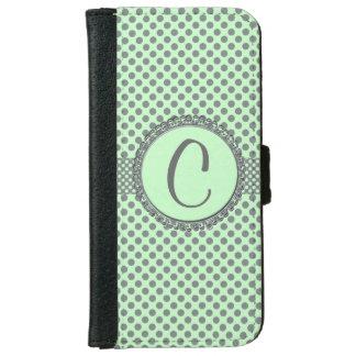 灰色のポルカの点モノグラムSTaylorとのミントの緑 iPhone 6/6s ウォレットケース