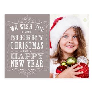灰色のメリークリスマス、明けましておめでとうの写真 ポストカード