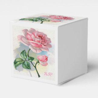 灰色のモノグラムのギフト用の箱のクラシックの美しいのローズピンク フェイバーボックス
