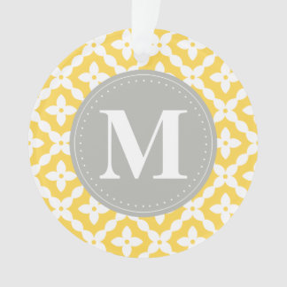 灰色のモノグラムの黄色花パターン枕 オーナメント