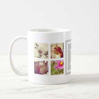 灰色のモノグラムのInstagramの写真のコラージュのマグ コーヒーマグカップ