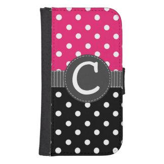 灰色のリボンが付いているピンク、黒く及び白い水玉模様 ウォレットケース