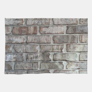 灰色のレンガ壁のグランジな煉瓦背景の質 キッチンタオル