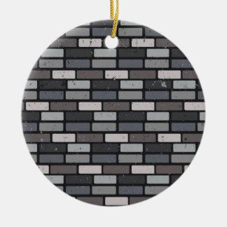 灰色のレンガ壁 セラミックオーナメント