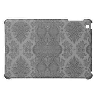 灰色のレースのようなヴィンテージの花柄 iPad MINIケース