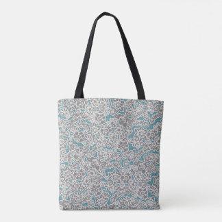 灰色のヴィンテージの花柄のトート トートバッグ
