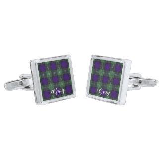 灰色の一族の格子縞のスコットランドのキルトのタータンチェック シルバー カフスボタン