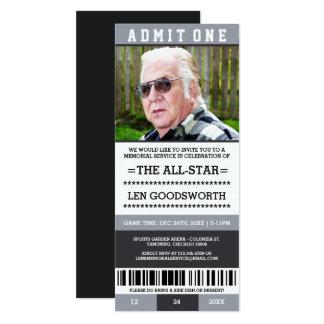 灰色の写真の告別式のチケットの招待 10.2 X 23.5 インビテーションカード