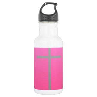 灰色の十字のピンク ウォーターボトル