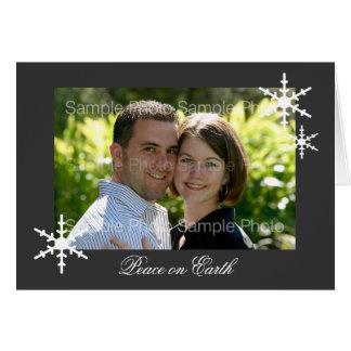 灰色の名前入りな写真の平和クリスマスカード カード