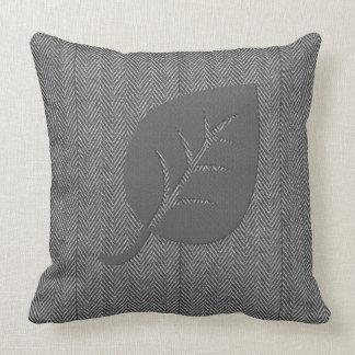 灰色の居心地のよい羊毛質の葉の枕 クッション