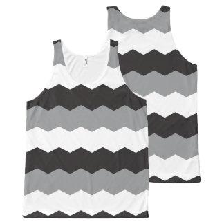 灰色の形の波 オールオーバープリントタンクトップ