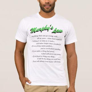 灰色の文字と緑マーフィーの法律の前部および背部 Tシャツ