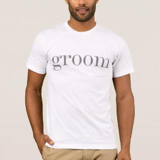 灰色の文字の新郎 Tシャツ