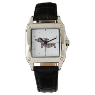 灰色の格子縞のダックスフントの革バンド正方形の腕時計 腕時計