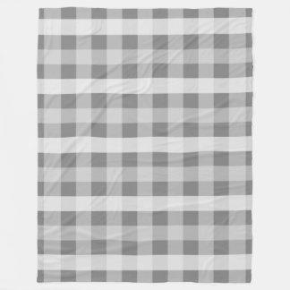 灰色の格子縞 フリースブランケット