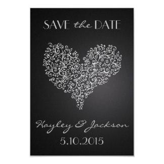 """灰色の正方形の結婚式の保存""""愛""""の日付カード カード"""