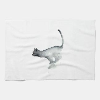 灰色の気難しい猫の白い台所タオル猫 キッチンタオル