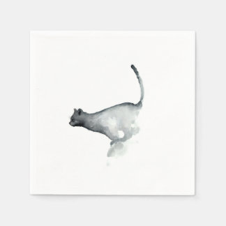 灰色の気難しい猫の白書のナプキン猫 スタンダードカクテルナプキン