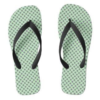 灰色の水玉模様とのミントの緑 ビーチサンダル