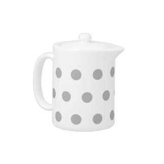 灰色の水玉模様のティーポット