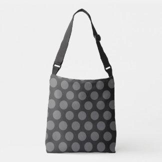 灰色の水玉模様パターン クロスボディトートバッグ
