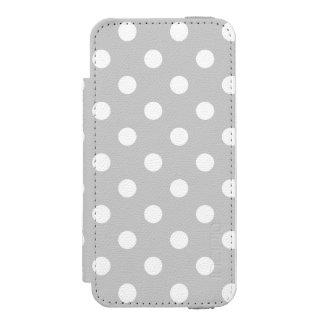 灰色の水玉模様パターン INCIPIO WATSON™ iPhone 5 ウォレット ケース