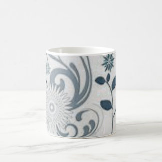 灰色の渦巻および花 コーヒーマグカップ