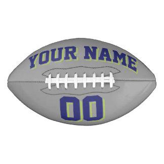 灰色の濃紺およびライムグリーンの習慣のフットボール アメリカンフットボール