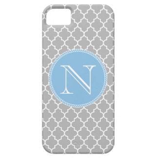 灰色の灰色および青のクローバーのモノグラムのiPhone 5 iPhone SE/5/5s ケース