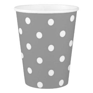 灰色の灰色の水玉模様のかわいい魅力 紙コップ