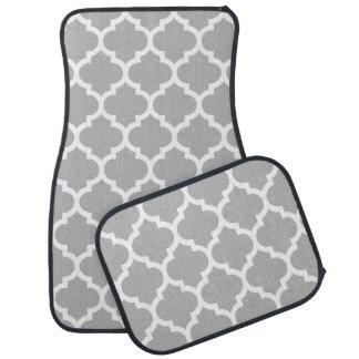 灰色の灰色白のモロッコのクローバーパターン#5 カーマット