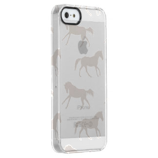 灰色の疾走する馬パターン クリア iPhone SE/5/5sケース