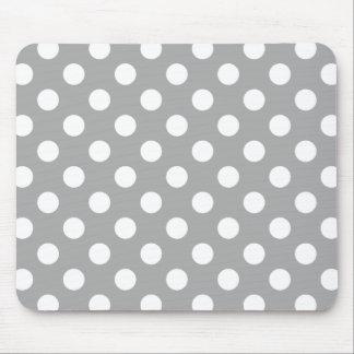 灰色の白い水玉模様 マウスパッド