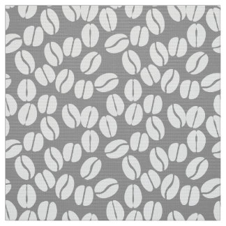 灰色の白のコーヒー豆パターン生地 ファブリック