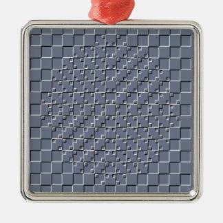 灰色の目の錯覚パターン シルバーカラー正方形オーナメント