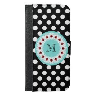 灰色の粋でガーリーなてんとう虫の水玉模様のモノグラム iPhone 6/6S PLUS ウォレットケース
