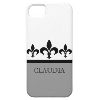 灰色の粋な(紋章の)フラ・ダ・リBTのiPhone 5の箱 iPhone SE/5/5s ケース