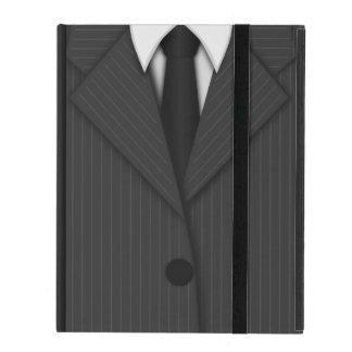 灰色の細い縦縞のスーツおよびタイのPowisのiCaseのiPadの箱 iPad ケース