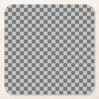 灰色の組合せの古典のチェッカーボード スクエアペーパーコースター