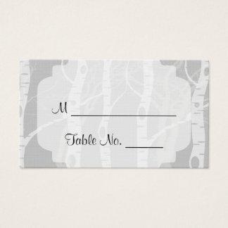 灰色の結婚式の座席表の冬の木 名刺